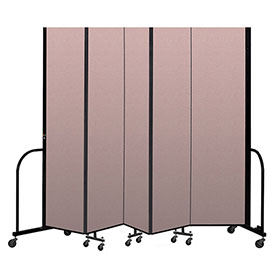 "Screenflex Portable Room Divider 5 Panel, 7'4""H x 9'5""L, Vinyl Color: Mauve"