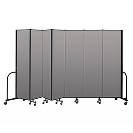 "Screenflex Portable Room Divider 7 Panel, 7'4""H x 13'1""L, Vinyl Color: Gray"