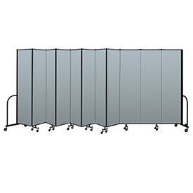 "Screenflex Portable Room Divider 11 Panel, 7'4""H x 20'5""L, Vinyl Color: Blue"