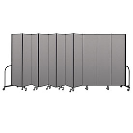 "Screenflex Portable Room Divider 11 Panel, 7'4""H x 20'5""L, Vinyl Color: Gray"