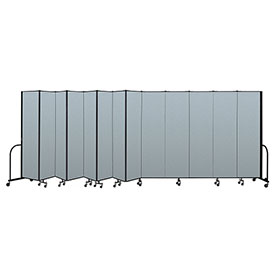 "Screenflex Portable Room Divider 13 Panel, 7'4""H x 24'1""L, Vinyl Color: Blue"