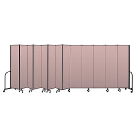 "Screenflex Portable Room Divider 13 Panel, 7'4""H x 24'1""L, Vinyl Color: Mauve"