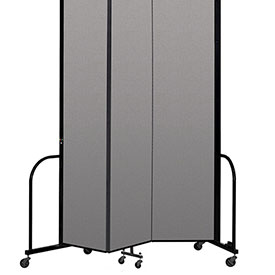 "Screenflex Portable Room Divider 3 Panel, 8'H x 5'9""L, Vinyl Color: Gray"