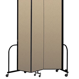 "Screenflex Portable Room Divider 3 Panel, 8'H x 5'9""L, Vinyl Color: Oatmeal"