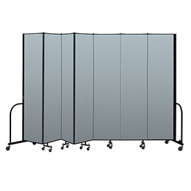 "Screenflex Portable Room Divider 7 Panel, 8'H x 13'1""L, Vinyl Color: Blue"