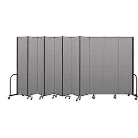 "Screenflex Portable Room Divider 11 Panel, 8'H x 20'5""L, Vinyl Color: Gray"