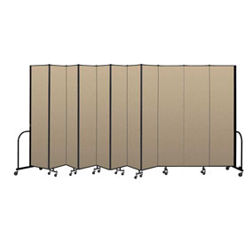 "Screenflex Portable Room Divider 11 Panel, 8'H x 20'5""L, Vinyl Color: Oatmeal"