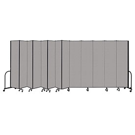 "Screenflex Portable Room Divider 13 Panel, 8'H x 24'1""L, Vinyl Color: Gray"