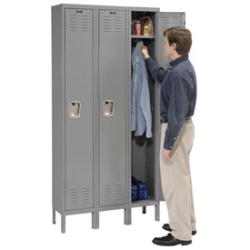Hallowell U3888-1HG Premium Locker Single Tier 18x18x72 3 Door Ready To Assemble Gray