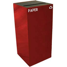 Steel Recycling Container with Paper Slot Opening - 32 Gallon Capacity Red