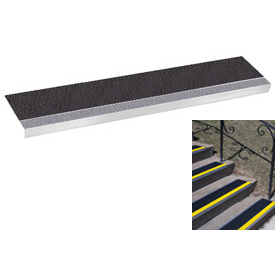 "Grit Surface Aluminum Stair Tread 7-1/2""D 36""W Glued Down Grayblack"
