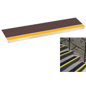 "Grit Surface Aluminum Stair Tread 9""D 36""W Glued Down Yellowbrown"