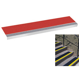 "Grit Surface Aluminum Stair Tread 9""D 48""W Glued Down Grayred"