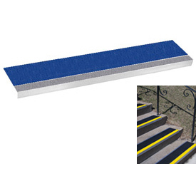 "Grit Surface Aluminum Stair Tread 11""D 36""W Glued Down Grayblue"