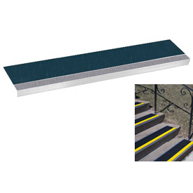 "Grit Surface Aluminum Stair Tread 11""D 36""W Glued Down Graygreen"