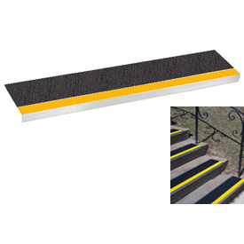 "Grit Surface Aluminum Stair Tread 11""D 42""W Glued Down Yellowblack"