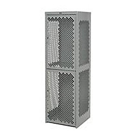 Pucel Heavy Duty Extra Wide Vented Steel Locker Triple Tier 24x24x74 3 Door Gray