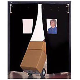 "Aleco® 7' x 8' x 0.25"" Twin Panel Black Flexible Impact Traffic Door 436049"