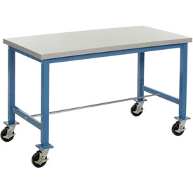 "72""W x 30""D Mobile Packaging Workbench - ESD Laminate Square Edge - Blue"