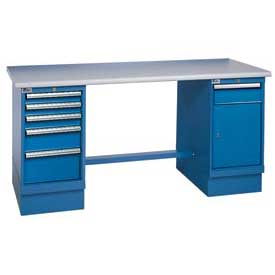 72x30 ESD Square Edge Pedestal Workbench with 5 Drawers & Cabinet