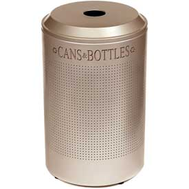 Rubbermaid® Silhouette DRR24C Recycling Container w/Can & Bottle Opening, 26 Gal - Desert Pearl