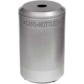 Rubbermaid® Silhouette DRR24C Recycling Receptacle w/Can & Bottle Opening, 26 Gal - Stainless