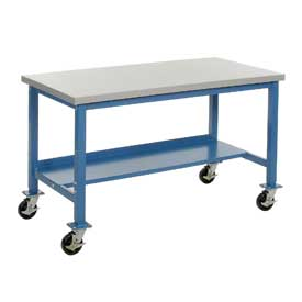 "60""W x 30""D Mobile Workbench - Plastic Laminate Safety Edge - Blue"