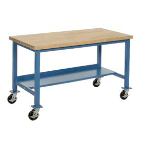 "72""W x 30""D Mobile Workbench - Maple Butcher Block Safety Edge - Blue"