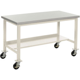 "60""W x 30""D Mobile Workbench - Plastic Laminate Square Edge - Tan"