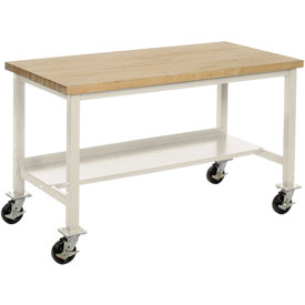 "72""W x 30""D Mobile Workbench - Maple Butcher Block Square Edge -Tan"