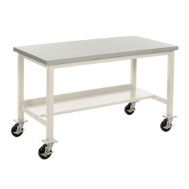 "60""W x 30""D Mobile Workbench - Plastic Laminate Safety Edge -Tan"
