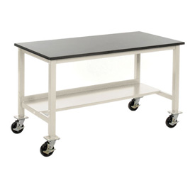 "72""W x 36""D Mobile Workbench - Phenolic Resin Safety Edge - Tan"