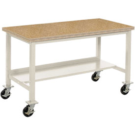 "72""W x 36""D Mobile Workbench - Shop Top Square Edge - Tan"