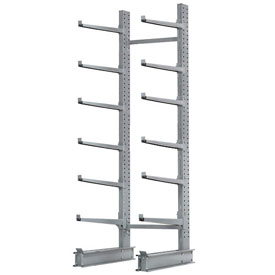 "Cantilever Rack Single Sided, Starter Unit Extra Heavy Duty, 72""W  x 49""D x 10'H, 15800 Lbs Capacity"
