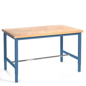 "60""W x 24""D Production Workbench - Maple Butcher Block Square Edge - Blue"