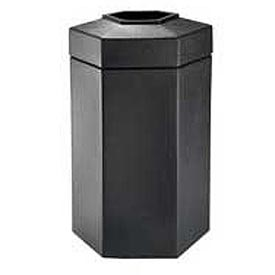 50 Gallon Hexagon Trash Container - Black