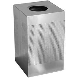 Rubbermaid® Silhouette SC22E Square Open Top Receptacle, 50 Gallon - Silver Metallic