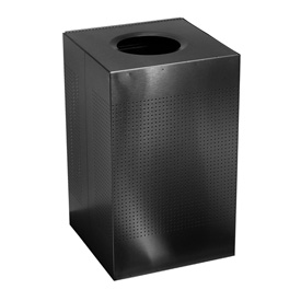 Rubbermaid® Silhouette SC22E Square Open Top Receptacle w/Plastic Liner, 40 Gallon - Black