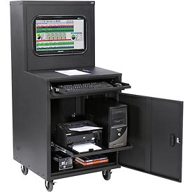 Deluxe LCD Industrial Computer Cabinet - Black - Assembled