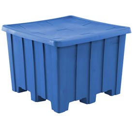 Rotational Molding Plastic Gaylord Pallet Container With Lid 02-307220 - 50x50x36-1/2, Blue