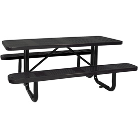 "96"" Picnic Table Black (ADA) Perforated Metal Surface Mount"