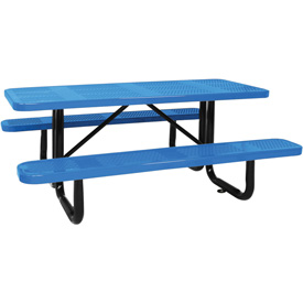 "96"" Picnic Table Blue (ADA) Perforated Metal Surface Mount"