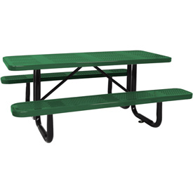 "96"" Picnic Table Green (ADA) Perforated Metal Surface Mount"