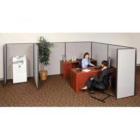 "Interion™ Pre-Configured Cubicle Partitioned Office Starter, 8'W x 10'D x 60""H, Gray"