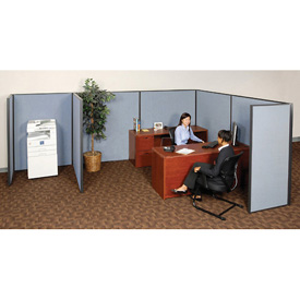 "Interion™ Pre-Configured Partitioned Office Starter, 6'W x 8'D x 60""H, Blue"