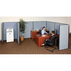 "Interion™ Pre-Configured Cubicle Partitioned Office Add-On, 8'W x 8'D x 72""H, Blue"