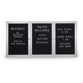 "United Visual Products Three-Door Outdoor Letter Board - 72""W x 36""H"