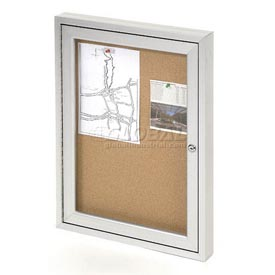 "United Visual Products One-Door Outdoor Corkboard - 24""W x 36"""
