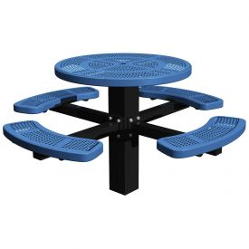 "46"" Single Post Round Picnic Table Perforated Metal"