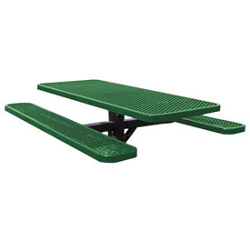 "48"" Single Post Rectangular Picnic Table Expanded Metal"